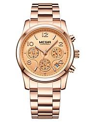cheap -MEGIR Women's Dress Watch Wrist Watch Japanese Quartz Stainless Steel Black / Gold 30 m Water Resistant / Waterproof Calendar / date / day Chronograph Analog Ladies Fashion Elegant - Gold Silver