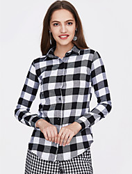 cheap -Women's Daily Holiday Street chic Cotton Shirt - Check Shirt Collar Black / Spring