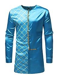 cheap -Men's Daily Basic Shirt - Geometric Blue / Long Sleeve