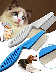 cheap -Pet Hair Grooming Comb Flea Shedding Brush Puppy Dog Stainless Pin Blue/White