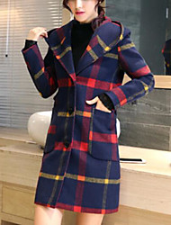 cheap -Women's Coat Long Plaid Checkered Daily Going out Basic Streetwear Plus Size Fall & Winter Wool Red / Green S / M / L