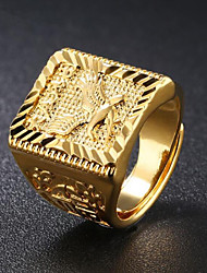 cheap -Men's Signet Ring Gold 18K Gold Plated Square Geometric Asian Street chic Hip Hop Daily Evening Party Jewelry Stylish Engraved Eagle family crest Cool