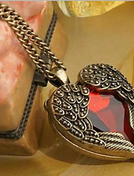 cheap -Women's Synthetic Ruby Pendant Necklace Chain Necklace Cuban Link Sculpture Wings Heart Stylish Vintage Sweet Resin Alloy Gold 50 cm Necklace Jewelry 1pc For Birthday Gift