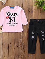 cheap -Baby Girls' Casual / Active Holiday Print Ripped / Print Long Sleeve Regular Clothing Set Blushing Pink / Toddler