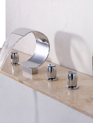 cheap -Bathtub Faucet - Contemporary Chrome Widespread Ceramic Valve Bath Shower Mixer Taps / Three Handles Five Holes