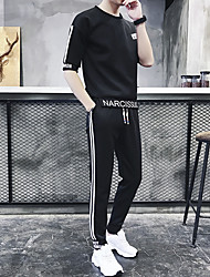 cheap -Men's 2-Piece Drawstring Running T-Shirt With Pants 2pcs Fitness Gym Workout Sportswear Plus Size Breathable Sweat-wicking Comfortable Tracksuit Clothing Suit Half Sleeve Activewear Stretchy Slim
