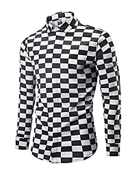 cheap -Men's Daily Going out Street chic Shirt - Houndstooth Black & White, Print Black / Long Sleeve