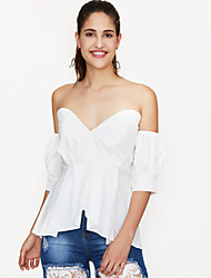 cheap -Women's Holiday Club Weekend Street chic T-shirt - Solid Colored Strapless Blue / Summer / Fall / Sexy