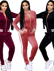 cheap -Women's Tracksuit Sweatsuit Stripes Velour Yoga Running Fitness Track Pants Track Jacket Clothing Suit Long Sleeve Activewear Thermal / Warm Breathable Soft Sweat-wicking Stretchy Slim