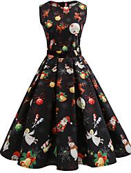 cheap -Women's Black Dress Basic Vintage Christmas Party Festival Swing Abstract Snowflake Santa Claus Print S M