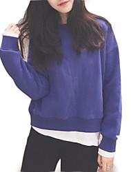 abordables -Femme Sortie Sweatshirt Couleur Pleine