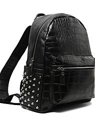 Недорогие -PU Заклепки рюкзак Школа Черный