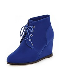 cheap -Women's Boots Bootie Wedge Heel Round Toe Suede Booties / Ankle Boots Minimalism Fall & Winter Black / Brown / Royal Blue