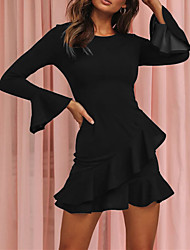 cheap -Women's Going out Flare Cuff Sleeve Slim Skater Dress - Solid Colored Black, Layered Ruffle Fall Black S M L XL