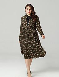 cheap -Women's Daily Basic Slim Swing Dress - Floral Print V Neck Spring Cotton Green XXXL XXXXL XXXXXL