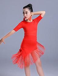 cheap -Latin Dance Dresses Girls' Performance Polyester Tassel / Split Joint Half Sleeve High Dress