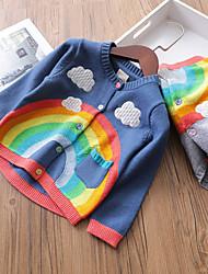 cheap -Kids Girls' Active Boho School Going out Print Print Long Sleeve Regular Cashmere Cotton Sweater & Cardigan Blue