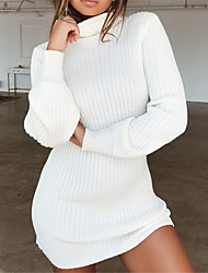 cheap -Women's Sweater Jumper Dress Short Mini Dress - Long Sleeve Solid Colored Fall Winter Turtleneck Basic Hot Puff Sleeve White Black Wine Khaki Navy Blue Gray S M L XL XXL 3XL 4XL