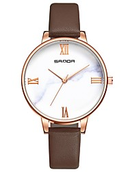 cheap -SANDA Women's Dress Watch Wrist Watch Japanese Quartz Leather Black / White / Red 30 m Water Resistant / Waterproof Casual Watch Cool Analog Ladies Casual Fashion - Fuchsia Brown Red