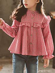 cheap -Kids Girls' Active Street chic Daily Going out Plaid Ruffle Long Sleeve Regular Shirt Black