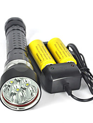 cheap -LED Flashlights / Torch Diving Flashlights / Torch Waterproof 8000 lm LED 4 Emitters 3 Mode with Batteries and Charger Waterproof Professional Anti-Shock Wearproof Camping / Hiking / Caving Diving
