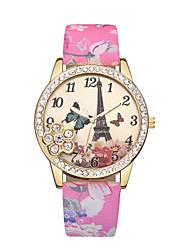 cheap -Women's Wrist Watch Diamond Watch Quartz Leather Black / Blue / Red Eiffel Tower Casual Watch Analog Ladies Flower Bohemian - Blue Pink Light Green