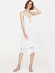 cheap -Women's White Black Dress Daily A Line Solid Colored Deep V S M