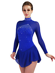 cheap -Figure Skating Dress Women's / Girls' Ice Skating Dress Aquamarine Spandex High Elasticity Training / Competition Skating Wear Quick Dry, Anatomic Design, Handmade Diamond Look / Classic / Fashion
