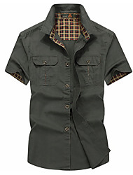 cheap -Men's Going out Shirt - Solid Colored Army Green / Short Sleeve
