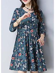 cheap -Women's Daily Shift Dress High Waist V Neck Blue Navy Blue Yellow L XL XXL