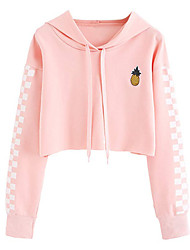 cheap -Women's Cotton Hoodie - Solid Colored Pink XL