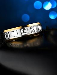 Недорогие -Жен. Кольцо 1шт Золотой Резина Титановая сталь Круглый Дамы Стиль Простой Свадьба Подарок Бижутерия Классический Стильные Креатив
