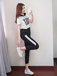 cheap -Women's High Rise Tracksuit Color Block Black White Zumba Yoga Fitness Hoodie Pants / Trousers Clothing Suit Short Sleeve Sport Activewear Breathable Comfortable Stretchy