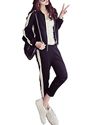 cheap -Women's Pocket Drawstring Tracksuit Stripes Cotton Zumba Running Fitness Jacket Pants / Trousers Clothing Suit Plus Size Activewear Breathable Micro-elastic