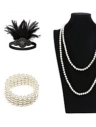 cheap -The Great Gatsby Charleston Vintage 1920s Costume Accessory Sets Flapper Headband Women's Feather Rhinestones Costume Head Jewelry Pearl Necklace Slave Bracelet Black / Black with White / White