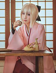 cheap -Inspired by Fate / Grand Order FGO Okita Souji Saber Anime Cosplay Costumes Japanese Cosplay Suits Anime Long Sleeve Skirts Gloves Bow For Women's / Kimono Coat / Sash / Ribbon / Kimono Coat
