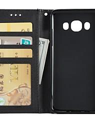 Недорогие -Кейс для Назначение SSamsung Galaxy J7 (2016) / J5 (2016) / J3 (2016) Кошелек / Бумажник для карт / со стендом Чехол Однотонный Твердый Кожа PU