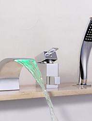 cheap -Bathtub Faucet - Contemporary Chrome Widespread Ceramic Valve Bath Shower Mixer Taps / Brass / Single Handle Three Holes