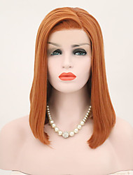 cheap -Synthetic Lace Front Wig Straight Bob Short Bob Lace Front Wig Short Brown / White Synthetic Hair 14 inch Women's Fashionable Design Dark Brown Gold Blonde Ombre