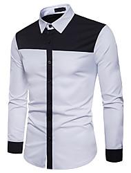 cheap -Men's Daily Work Street chic Shirt - Color Block Black