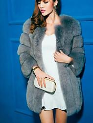 Недорогие -Жен. Повседневные Классический Наступила зима Большие размеры Длинная Пальто с мехом, Однотонный Круглый вырез Длинный рукав Искусственный мех Светло-синий / Светло-серый / Тёмно-синий