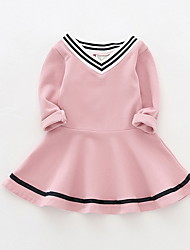cheap -Baby Girls' Active Dusty Rose Striped Long Sleeve Dress Blushing Pink