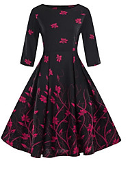 cheap -Women's Plus Size Purple Yellow Dress Vintage Fall Daily Going out A Line Floral Print S M