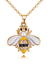 cheap -Women's Pendant Necklace Stylish Bee Ladies European Fashion Rhinestone Alloy Yellow Red 40 cm Necklace Jewelry 1pc For Causal Daily
