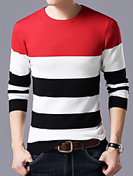 cheap -Men's Daily Color Block Long Sleeve Slim Regular Pullover Sweater Jumper, Round Neck Red / Navy Blue / Gray M / L / XL