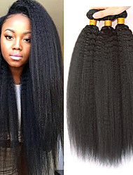 cheap -3 Bundles Indian Hair Yaki Straight Human Hair Headpiece Extension Bundle Hair 8-28 inch Natural Black Human Hair Weaves Silky Smooth Extention Human Hair Extensions / 8A
