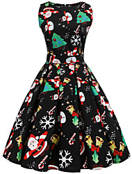 cheap -Women's Santa Claus Swing Dress - Sleeveless Abstract Snowflake Print Basic Vintage Christmas Festival Black S M L XL XXL
