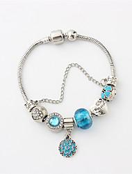 cheap -Women's Cubic Zirconia Synthetic Diamond Cuff Bracelet Bead Bracelet Beads Tennis Chain Heart Flower Shape Ladies Stylish Vintage Copper Bracelet Jewelry Light Blue For Party Date / Rhinestone