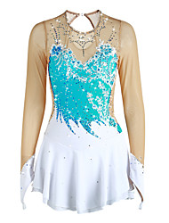 cheap -Figure Skating Dress Women's Girls' Ice Skating Dress Yan pink Sky Blue Purple Flower Spandex High Elasticity Competition Skating Wear Handmade Solid Colored Long Sleeve Ice Skating Figure Skating