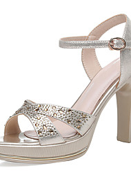 cheap -Women's Sandals Chunky Heel Synthetics Ankle Strap Summer Gold / Silver